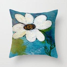 WHITE WHIMSICAL FLOWER Throw Pillow