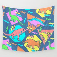 yetiland Wall Tapestries featuring Nineties Dinosaur Pattern by chobopop