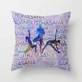 Yoga Asanas/Poses Sanskrit Word Art Throw Pillow
