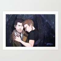 destiel Art Prints featuring Destiel by enerjax