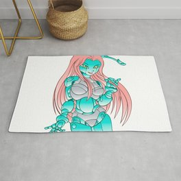 Beautiful girl robot android Rug