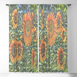 Sunflower Kaleidoscope Sheer Curtain