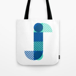 Rotation Alphabet 'j' On White Tote Bag