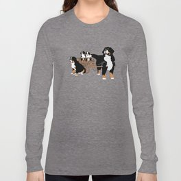 Family of Bernese Mountain Dogs with Wooden Wagon Long Sleeve T-shirt