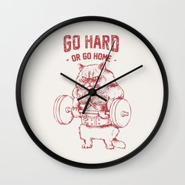 Go Hard or Go home Cat Wall Clock