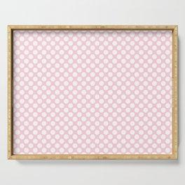 Large White Spots on Light Soft Pastel Pink Serving Tray