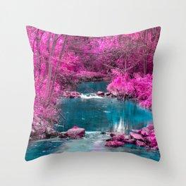 Pink Trees Blue Stream Throw Pillow
