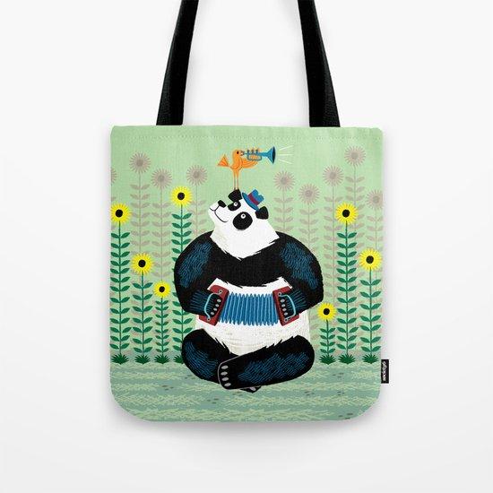 Panda Piazzolla and The Trumpet Bird Tote Bag