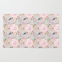 Watercolor Roses and Blush French Script Rug