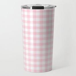 Light Soft Pastel Pink Cowgirl Buffalo Check Plaid Travel Mug