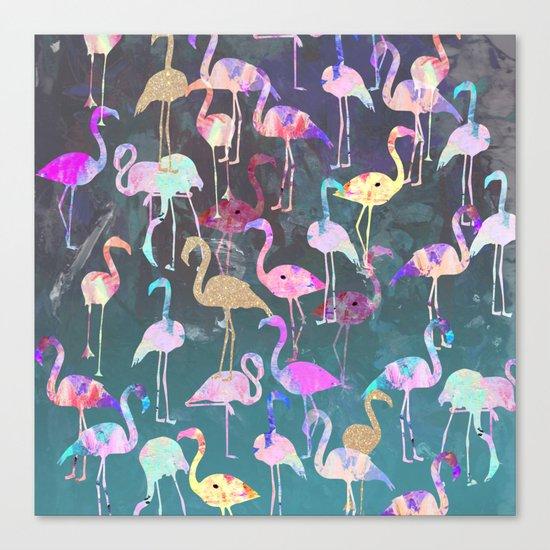 After Dark Flamingo Party  Canvas Print