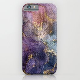 Stormy Abstract Ink Painting - Canvas Texture iPhone Case