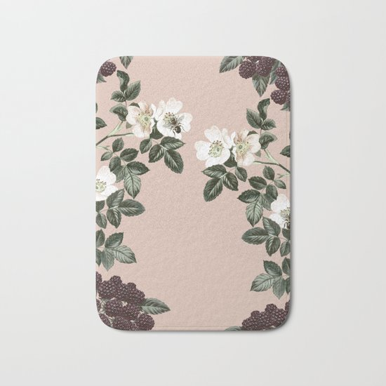 Bee Blackberry Bramble Coral Pink Bath Mat