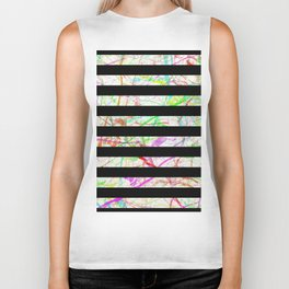 Marble, Stripes And Colour Biker Tank