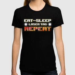 Tag Game Laser Guns Fire Shooting Infrared Beam Eat Sleep Laser Tag Repeat Gift T-shirt