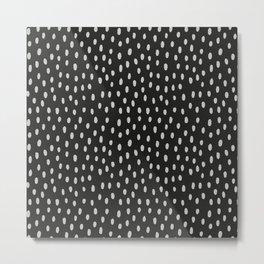 Hand painted black gray watercolor brushstrokes pattern Metal Print