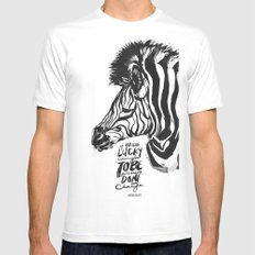 LUCKY ENOUGH to Be Different! Mens Fitted Tee MEDIUM White