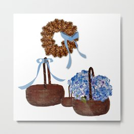 Cape Cod Hydrangeas and Baskets Metal Print