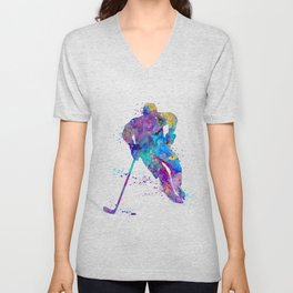 Boy Ice Hockey Colorful Sports Art Watercolor Gift Unisex V-Neck