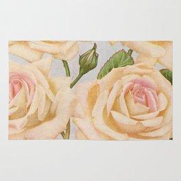 Vintage White Rose Painting (1920) Rug