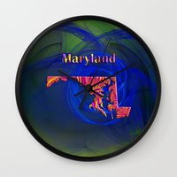 maryland Wall Clocks featuring Maryland Map by Roger Wedegis