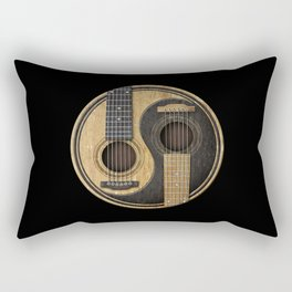 Aged Vintage Acoustic Guitars Yin Yang Rectangular Pillow