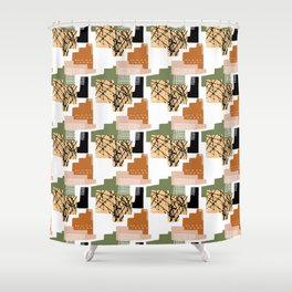 90's Style Geometric Pattern Shower Curtain