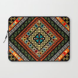 Rhomboid colorful background with ethnic motifs Laptop Sleeve