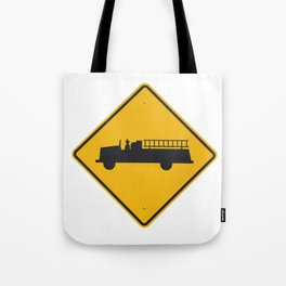 Yellow Firetruck Firehouse Traffic Sign Tote Bag