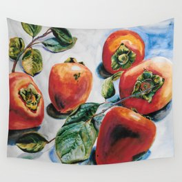 Watercolor Persimmons With Leaves Wall Tapestry