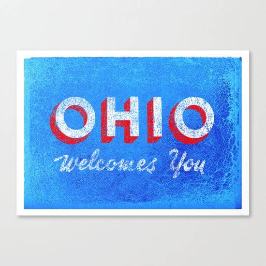 Vintage Ohio Welcome Sign Canvas Print