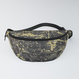 Marble - Glittery Gold Marble on Black Design Fanny Pack
