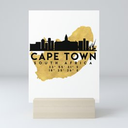 CAPE TOWN SOUTH AFRICA SILHOUETTE SKYLINE MAP ART Mini Art Print