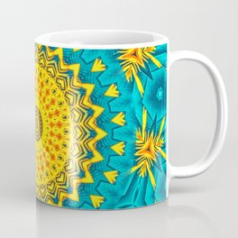 Birds of Paradise Circular Geometric Blended Floral Pattern \\ Yellow Green Blue Teal Color Scheme Coffee Mug