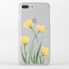 Yellow Woodland Tulips Clear iPhone Case