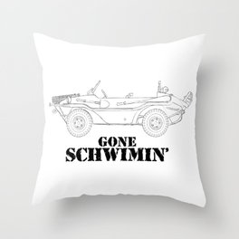 gone schwimin' - a distressed line drawing of a vintage Type 166 Schwimmwagen Throw Pillow