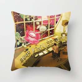 Observing what's out there, a space sci fi collage Throw Pillow