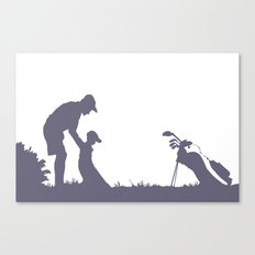 Father and Son playing Golf Canvas Print