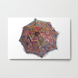 Decorative Indian Cotton Embroidered Parasol Metal Print