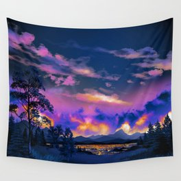 Night Sky Sunset Wall Tapestry