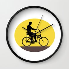 Man Riding Easy Rider Bicycle Silhouette Oval Retro Wall Clock