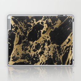 Modern faux gold glitter black marble Laptop & iPad Skin