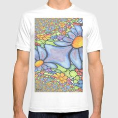 Someone stepped on the Daisies Mens Fitted Tee White MEDIUM