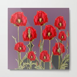 ART NOUVEAU RED POPPIES PUCE ART Metal Print