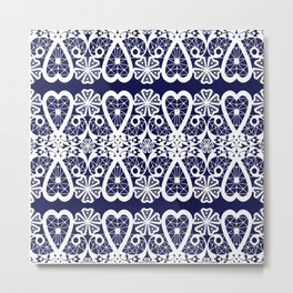 Retro . Lace blue white pattern . White lace on blue background . Metal Print