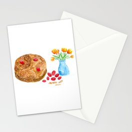 Watercolor Greek Easter With Tulips Stationery Cards