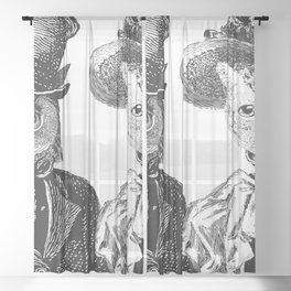 The Owl and the Pussycat | Anthropomorphic Owl and Cat | Black and White | Sheer Curtain