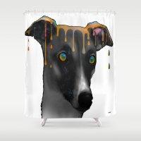 greyhound Shower Curtains featuring Greyhound BW by Marlene Watson