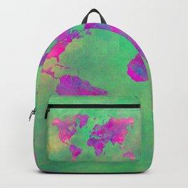 world map 117 green purple #worldmap #map Backpack