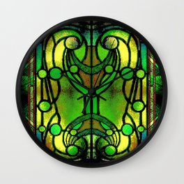 Green and Gold Stained Glass Victorian Design Wall Clock